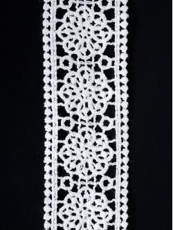 Памучна дантела двойна, цвят Бяла, ширина 4 см.
