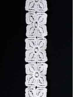 Памучна дантела- двойна, цвят Бяла, ширина 2,5 см.