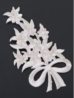 Цвете за залепване в сребристо ламе 11,5 сантиметра