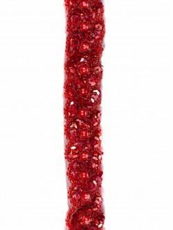 Червен ширит за декорация с пайети