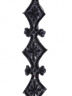 Черен ширит за декорация с пайети