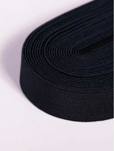 Черен плосък ластик 2,5 сантиметра