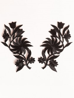 Комплект черни цветя апликации