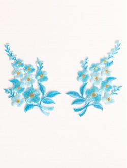 Комплект сини цветя апликации