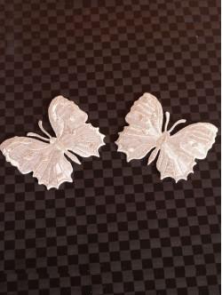 Комплект сребристи пеперуди