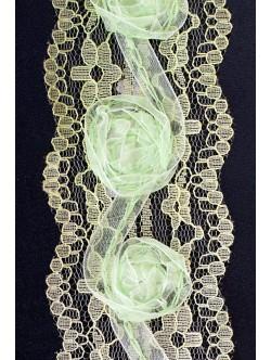 Дантела с декорация - зелена