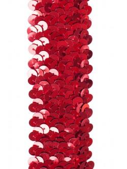 Ластичен ширит с пайети - червен