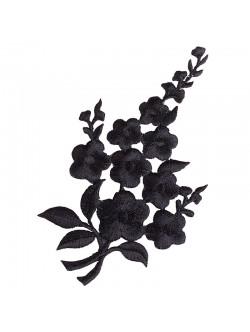 Апликация с цвете - черна дясна