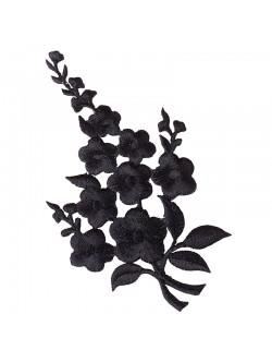 Апликация с цвете - черна лява