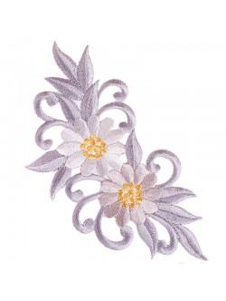 Апликация с цвете - сива лява